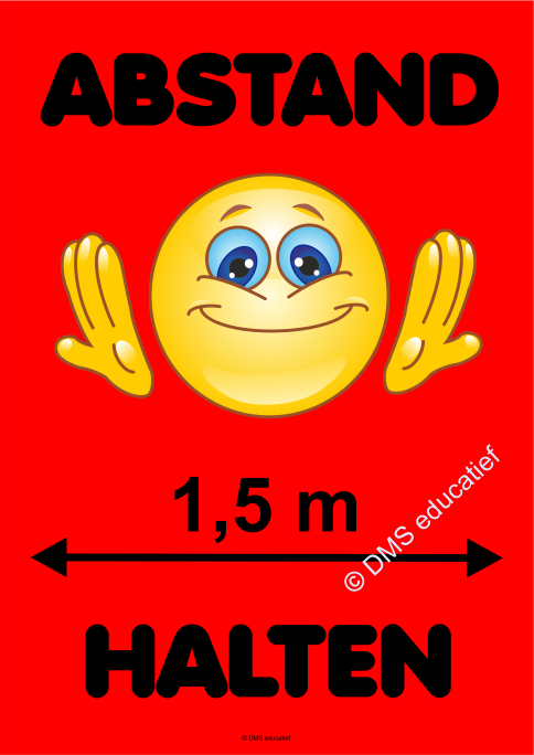 Poster 'Abstand halten' - Rot Smiley