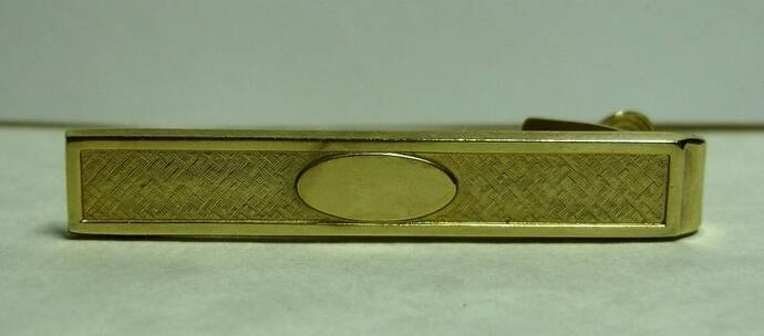 Men's Vintage Anson Brand Matte Brushed Goldtone With Shiny Oval Tie Clasp