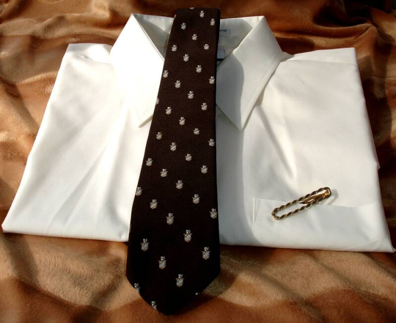 Austin Reed Dark Brown Men's Vintage Tie With Silver And Gold Shields