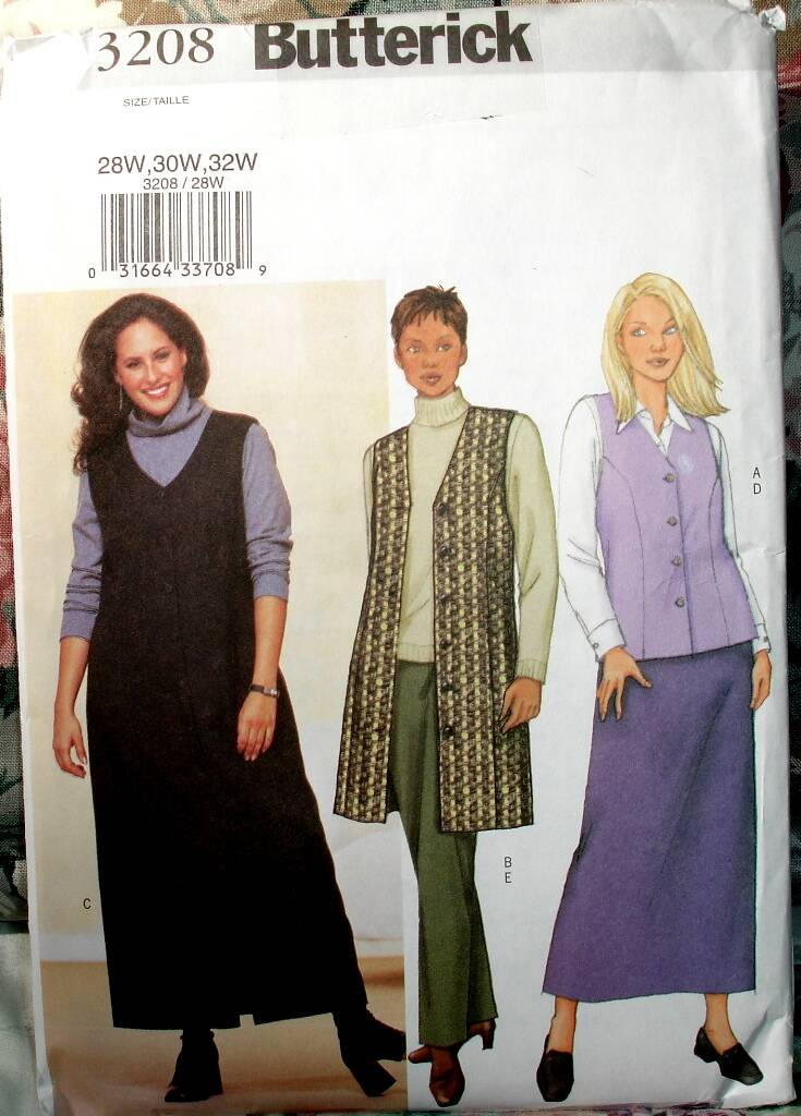 Butterick 3208 Vest Jumper Skirt And Pants Pattern Sizes 28W-32W
