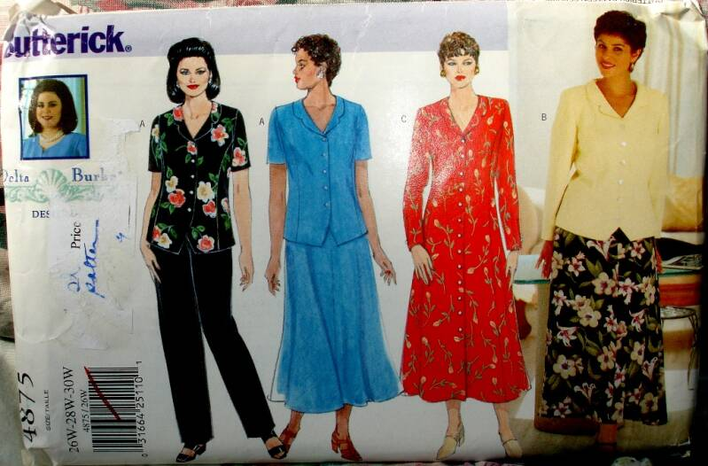 Butterick 4875 Semi Fitted Dress Top Skirt And Pants Sizes (26W-30W)