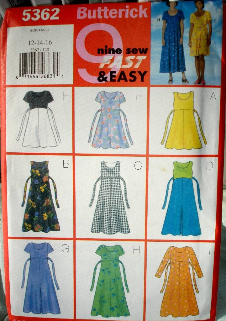 Butterick 5362 Misses Dress In 9 Easy And Fast To Sew Styles Sizes 12-14-16