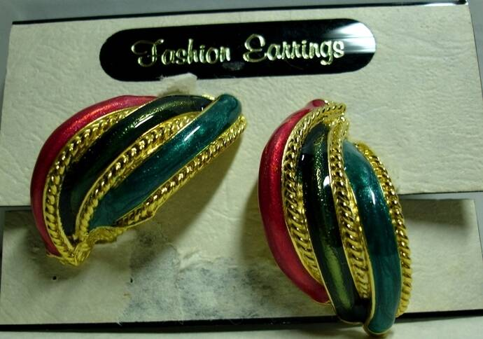 Vintage Clip On Earrings in Red Green And Teal With Goldtone Rope Accents
