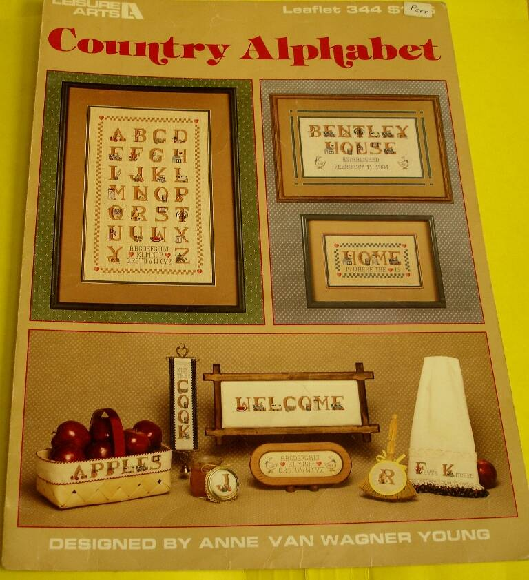 Country Alphabet Cross Stitch Leisure Arts Leaflet 344 by Anne Van Wagner Young