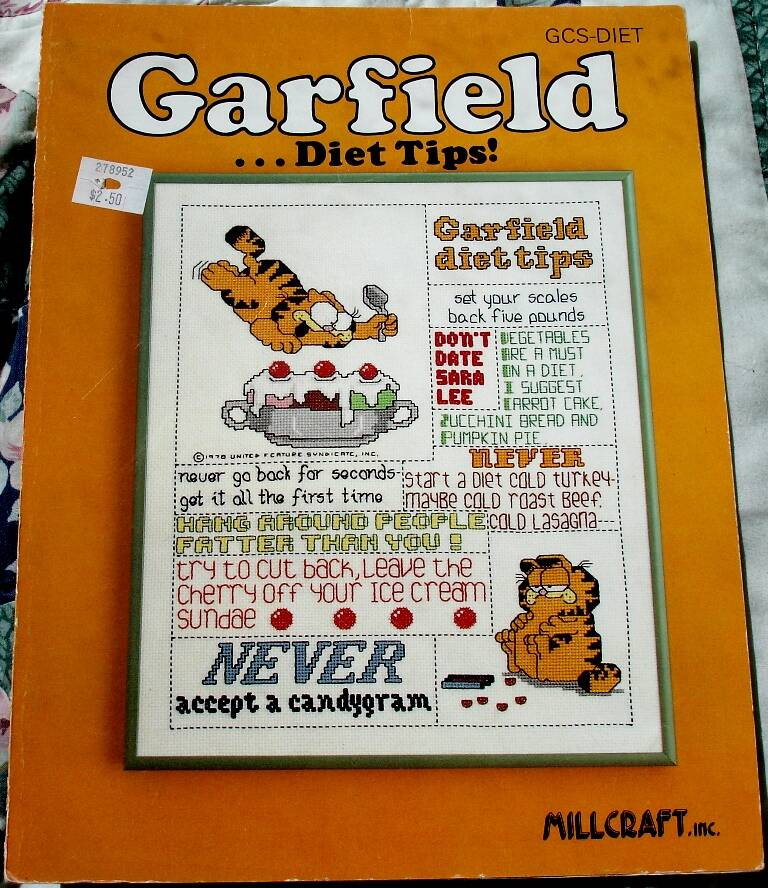 Garfield Diet Tips Counted Cross Stitch Chart By Millcraft GCS Diet