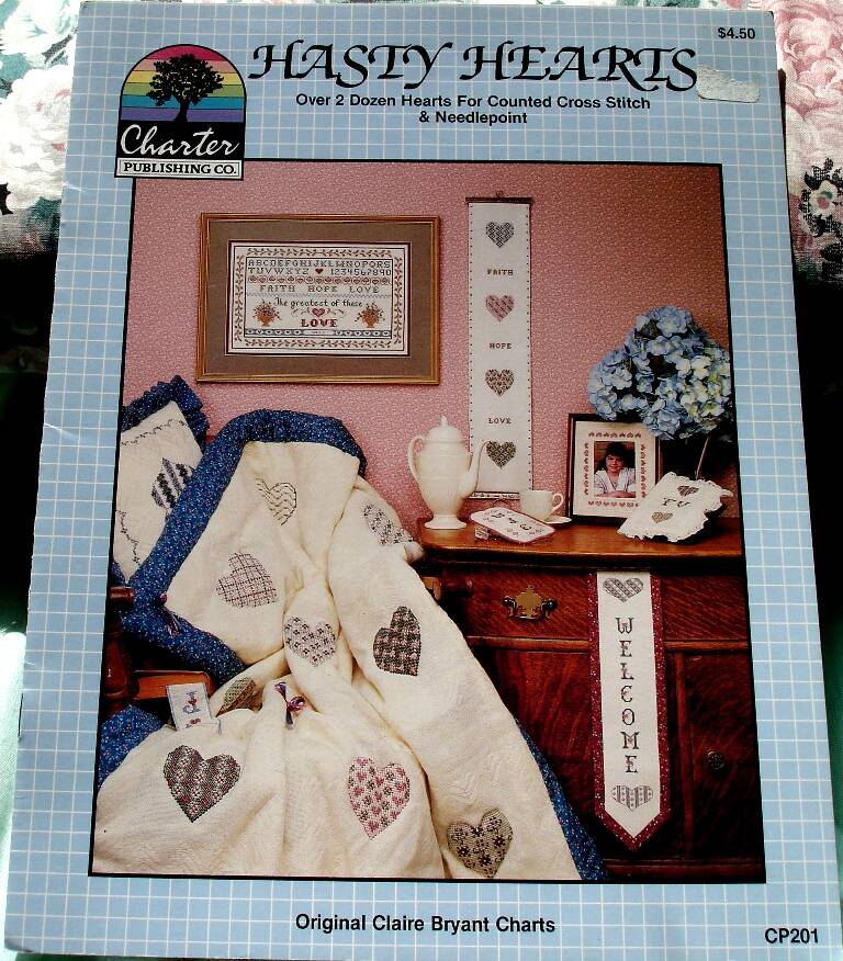 Hasty Hearts Cross Stitch Pattern Leaflet CP201 By Claire Bryant 1987