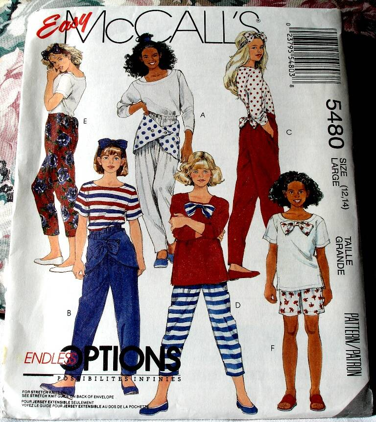McCall's 5480 Girls Top Pants In Three Lengths And Headband Size Large(12-14) Pattern
