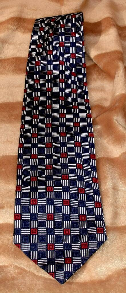 City Of London Men's Vintage Silk Red, White And Blue Tie