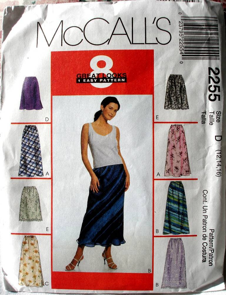 McCall's 2255 Misses Easy Fitting Pull On Bias Skirt In Two Lengths Size D