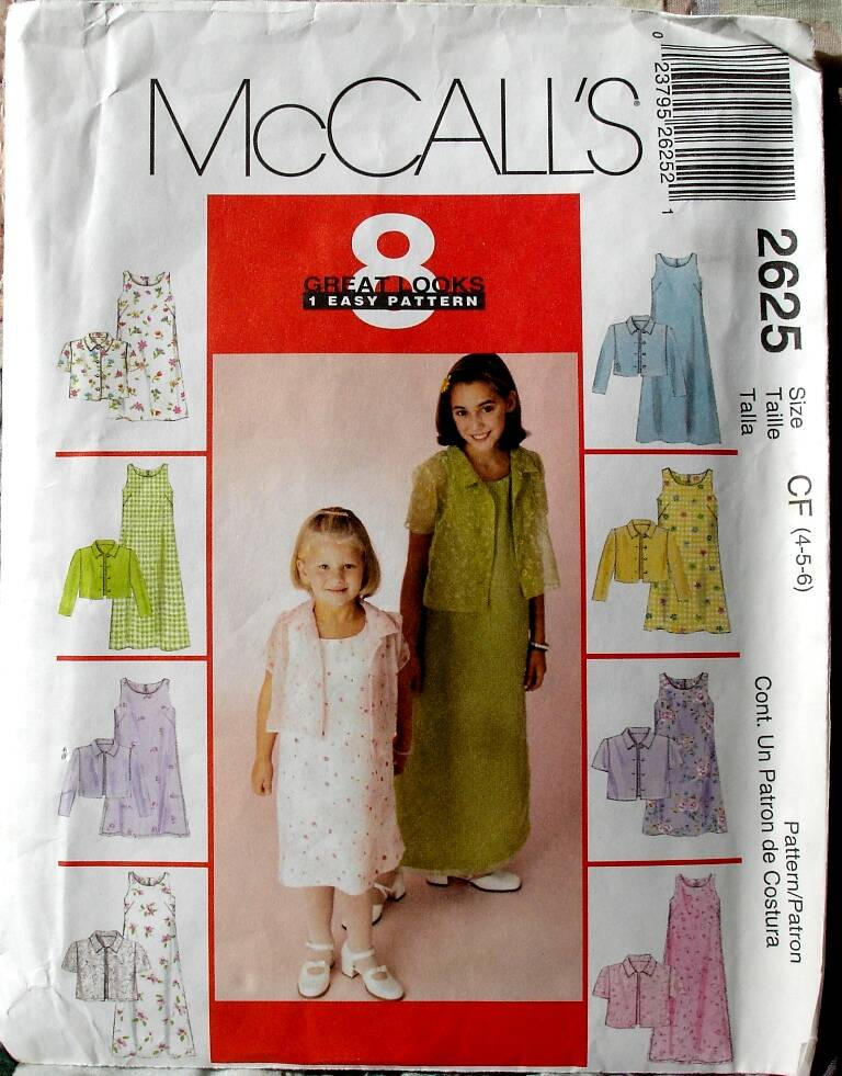 McCall's 2625 Children and Girls Dress In Two Lengths And Shirt Jacket Size CF (4-5-6)