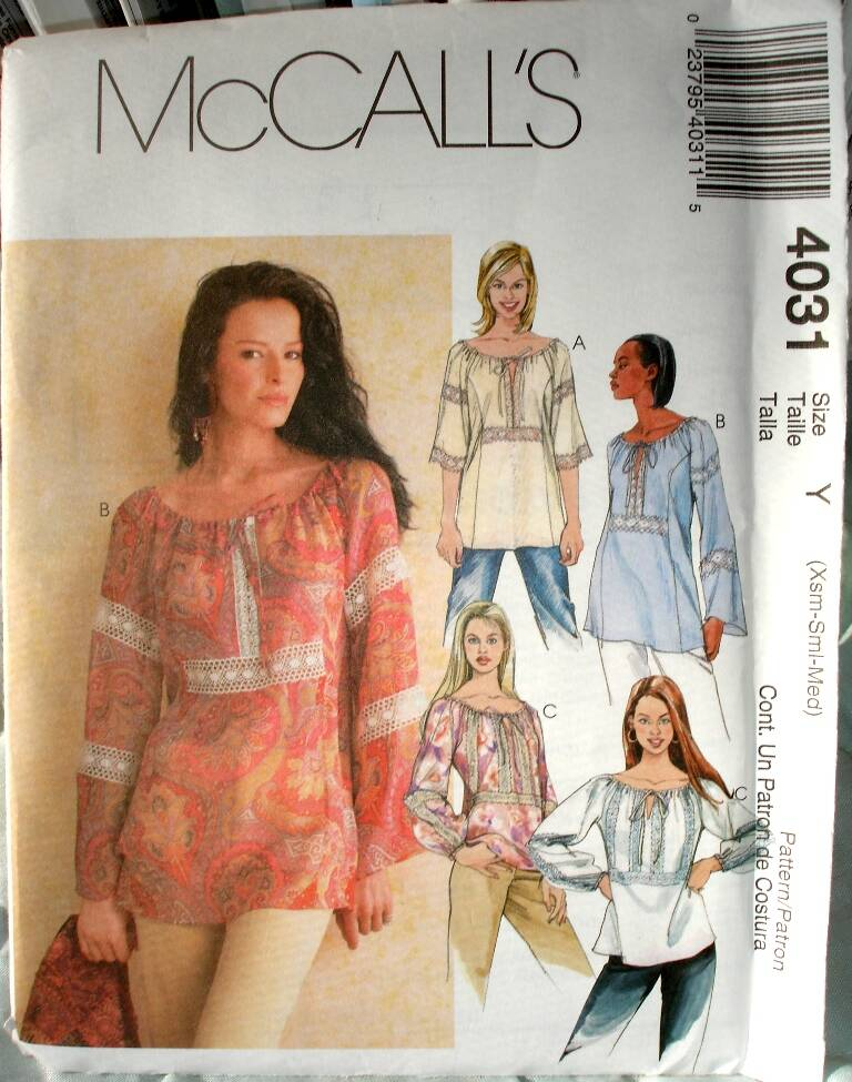 McCall's 4031 Loose Fitting Pullover Top With Drawstring Neckline Size Y (XSm-Sm-Med)(XSM-SM-MED)