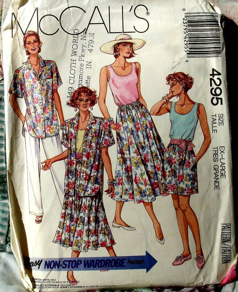 McCall's 4295 Misses Shirt Top Six Gore Skirt Pants And Shorts Size X-Large