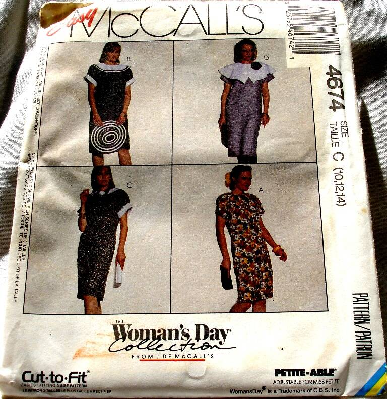 McCall's 4674 Misses Pullover Chemise Dress Pattern Size C(10-12-14)