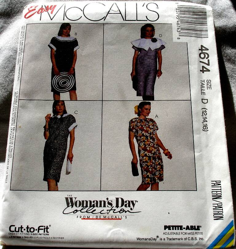 McCall's 4674 Misses Pullover Chemise Dress Pattern Size D(12-14-16)