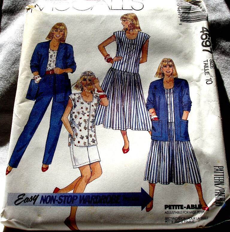 McCall's 4697 Misses Cardigan Dress Top Pants And Short Size 10