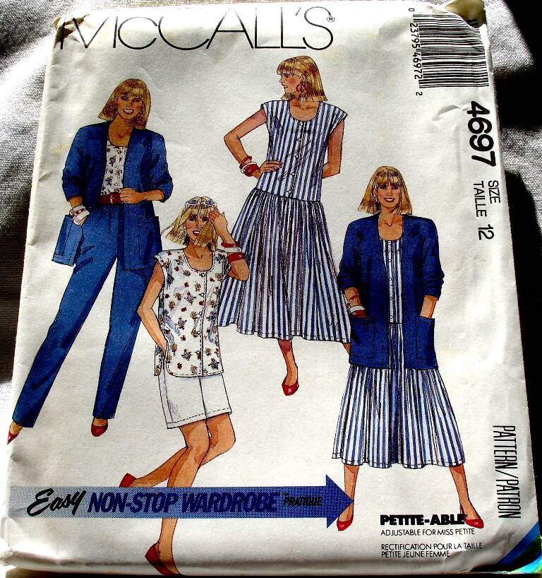 McCall's 4697 Misses Cardigan Dress Top Pants And Shorts Size 12