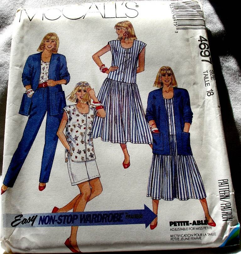 McCall's 4697 Misses Cardigan Dress Top Pants And Shorts Size 18