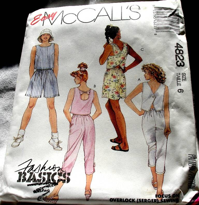 McCall's 4823 Misses Crop Top Capri Pants And Pull On Shorts Pattern Size 6