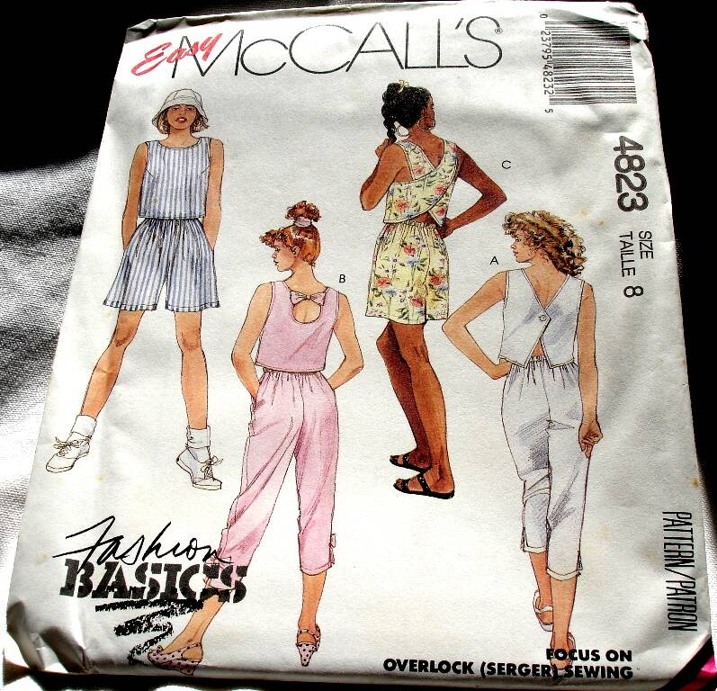 McCall's 4823 Misses Crop Top Capri Pants And Pull On Shorts Pattern Size 8