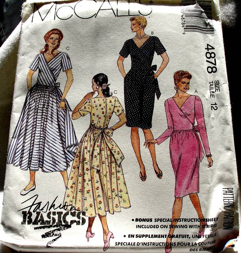 McCall's 4878 Misses Dresses With Crossed V Neckline Front Size 12