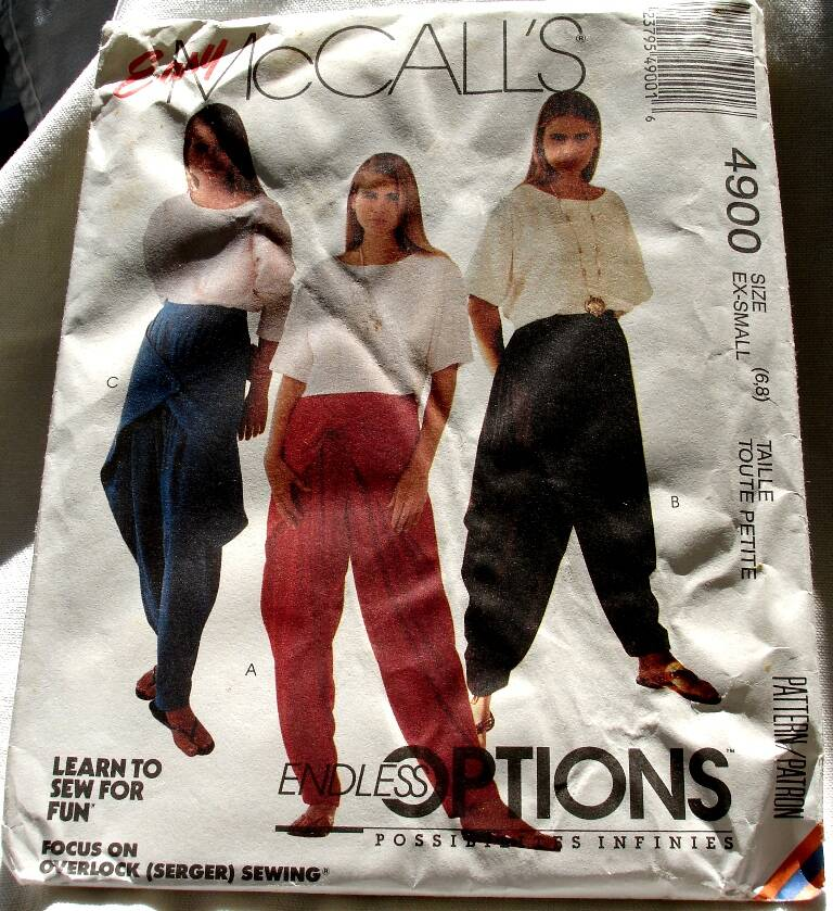 McCall's 4900 Misses Pullover Top And Side Draped Pants Size X-Small (6-8) Pattern