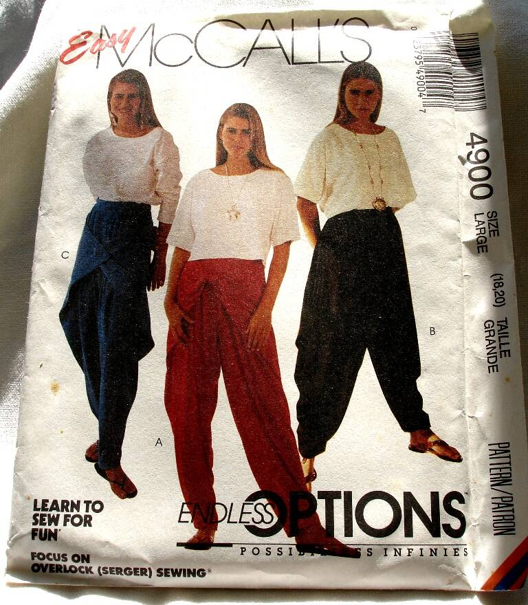 McCall's 4900 Misses Pullover Top And Side Draped Pants Size Large (18-20) Pattern