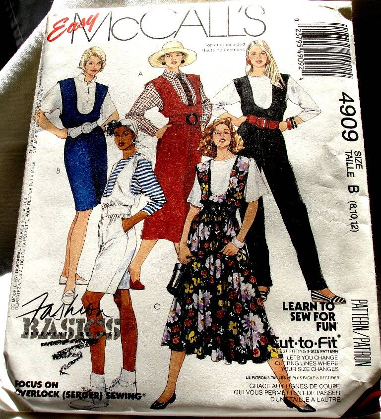 Mccall's 4909 Misses U Neckline Jumpers Jumpsuit Or Rompers Size B (8-10-12) Pattern