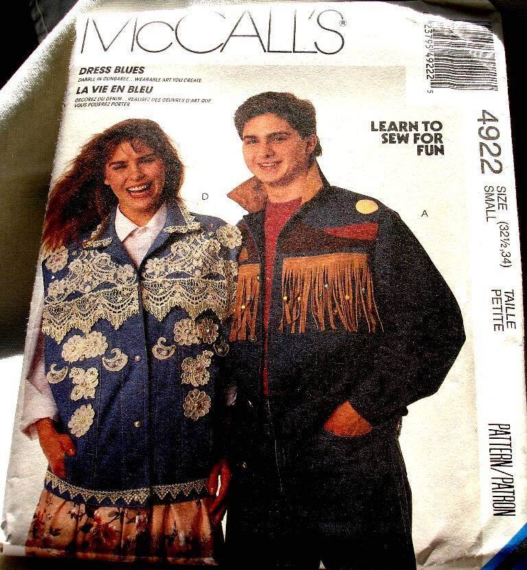 McCall's 4922 Misses Men's Teen Boys Jacket Or Vest Pattern Size Small