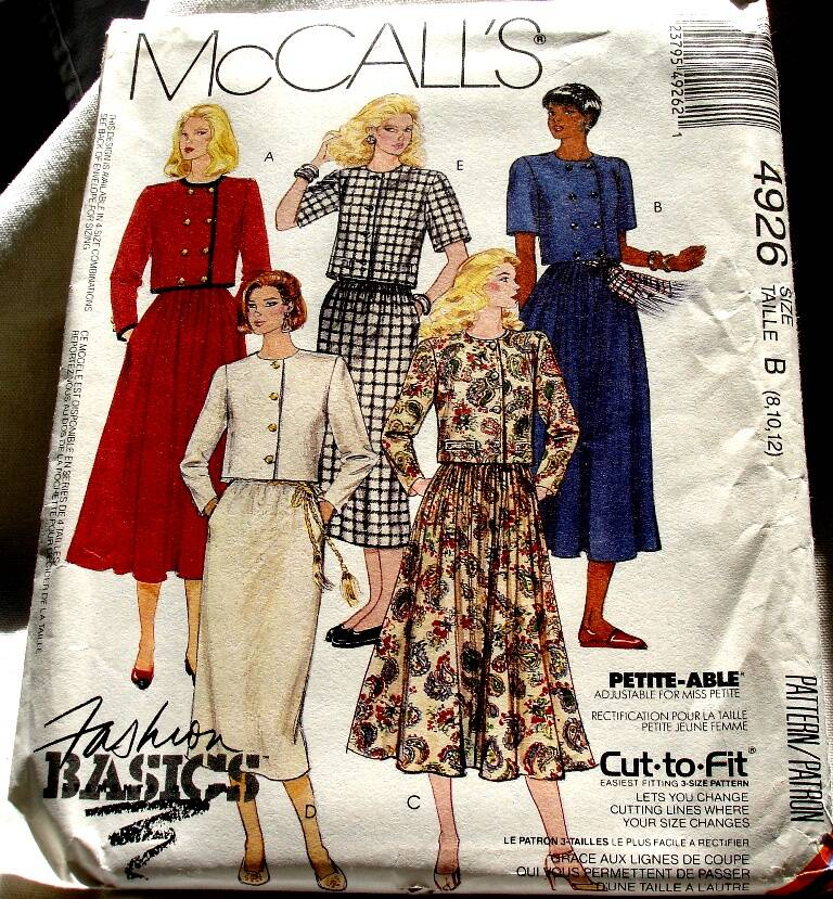 McCall's 4926 Misses Two Piece Front Buttoned Crop Top Dress Pattern Size B (8-10-12)