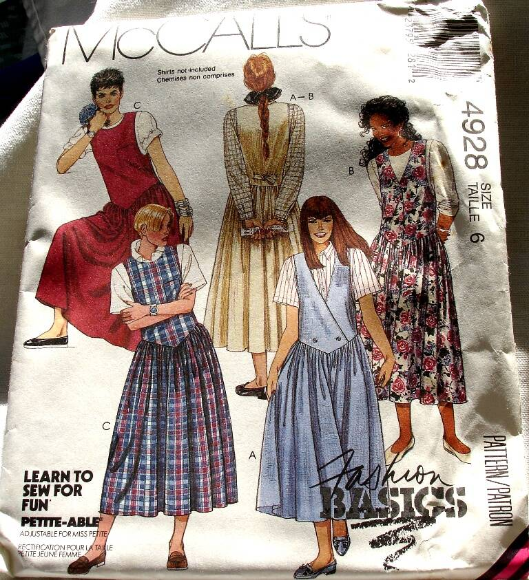 McCall's 4928 Misses Set Of Shaped Dropped Waist Jumpers Pattern Size 6