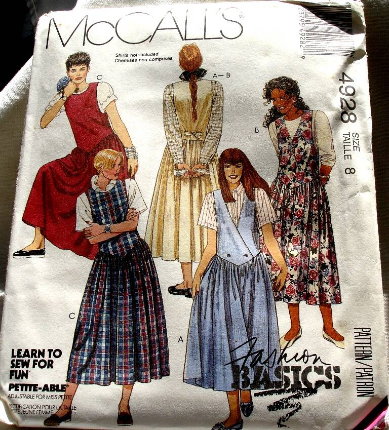 McCall's 4928  Misses Set Of Shaped Dropped Waist Jumpers Size 8 Pattern