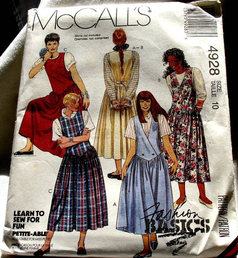 McCall's 4928 Misses Set Of Shaped Dropped Waist Jumpers Size 10 Pattern
