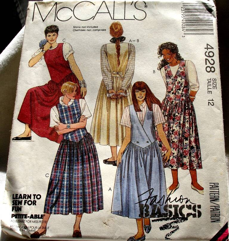 McCall's 4928 Misses Set Of Shaped Dropped Waist Jumpers Size 12 Pattern
