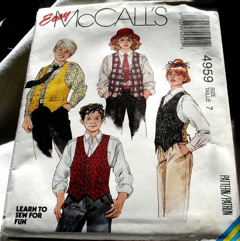 McCall's 4959 Boys And Girls Lined Front Button Vest And Shirt Pattern, Size 7