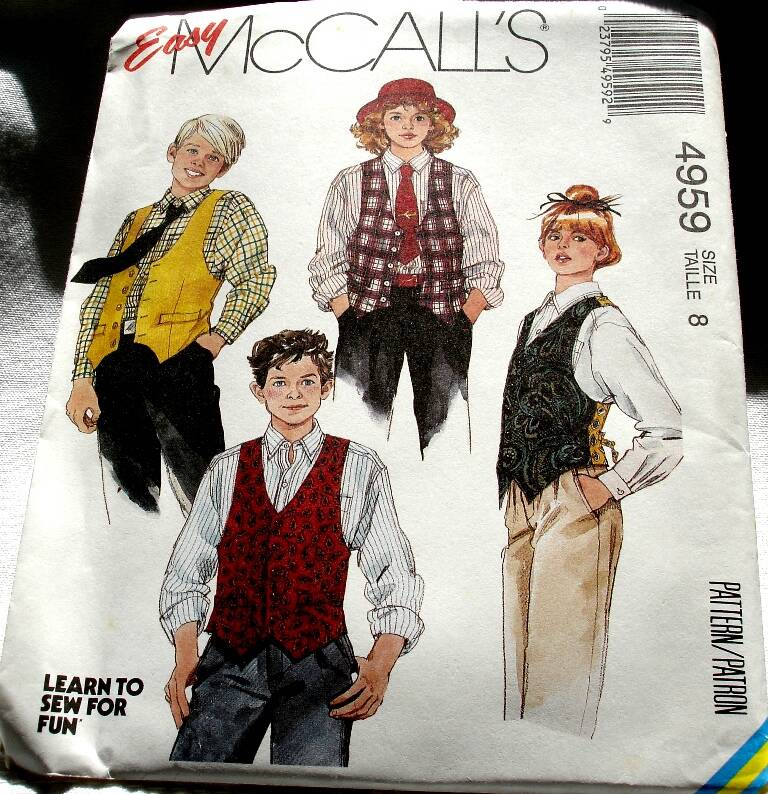 McCall's 4959 Boys And Girls Lined Front Button Vest And Shirt Pattern Size 8