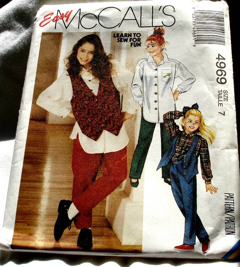 McCall's 4969 Girls Lined Vest Loose Fitting Shirt And Pull-On Pants  Pattern Size 10