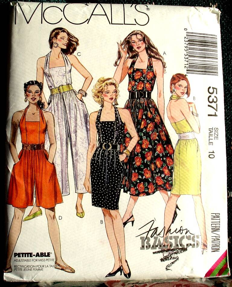 McCall's 5371 Misses Sundress And Jumpsuits Pattern Size 10