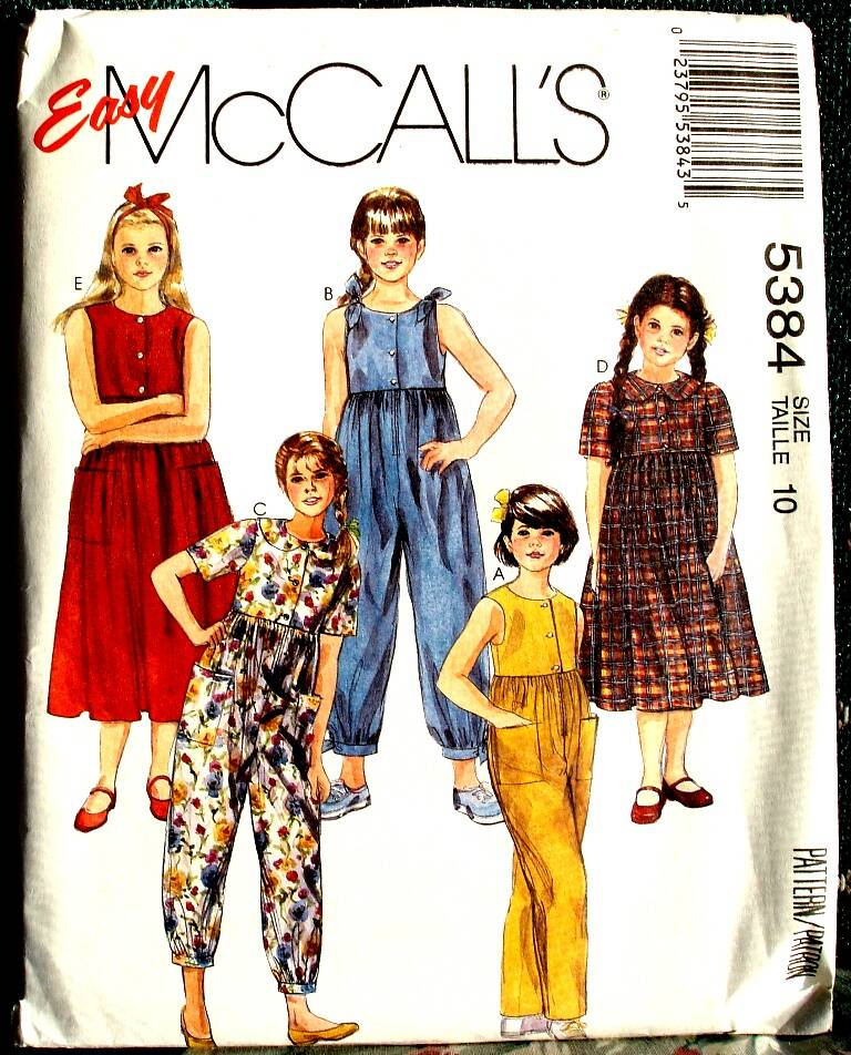 McCall's 5384 Girls Loose Fitting Jumpsuit And Dress Pattern Size 10