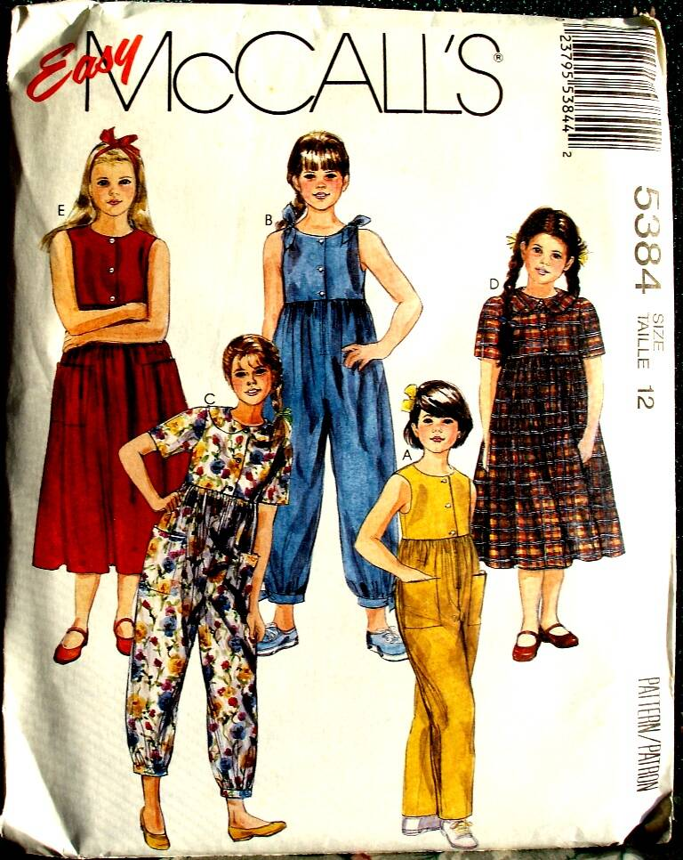 McCall's 5384 Girls Loose Fitting Jumpsuit And Dress Pattern Size 12