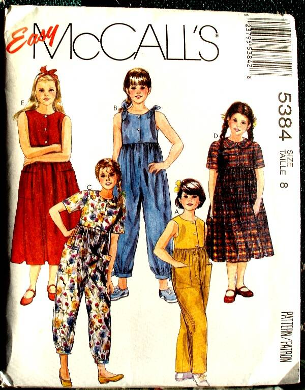 McCall's 5384 Girls Loose Fitting Jumpsuit And Dress Pattern Size 8