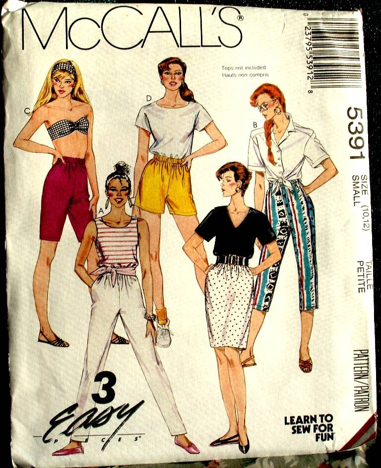 McCall's 5391 Misses Skirt And Pants Or Shorts Pattern Size Small (10-12)