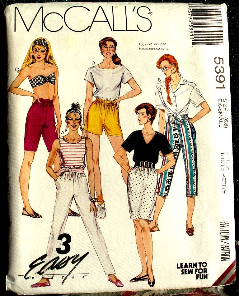 McCall's 5391 Misses Skirt And Pants Or Short Pattern Size X-Small (6-8)