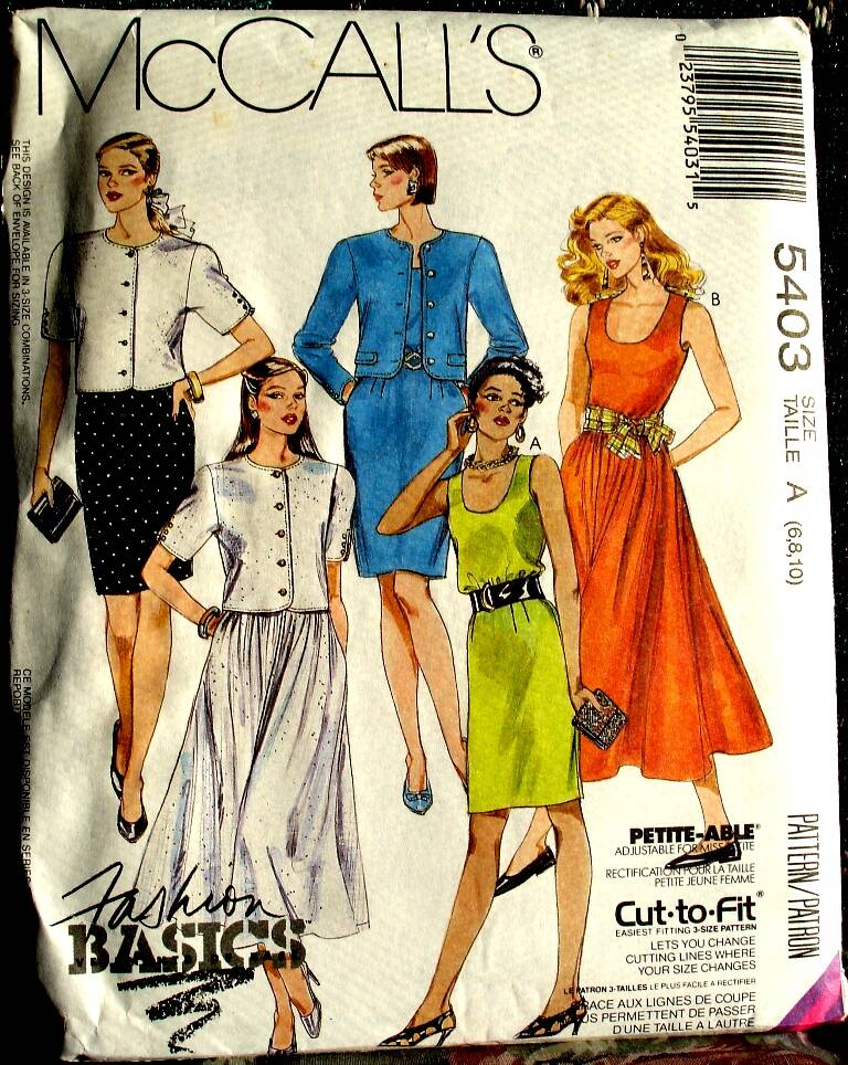 McCall's 5403 Misses Unlined Jacket And Dresses Pattern Size A (6-8-10)