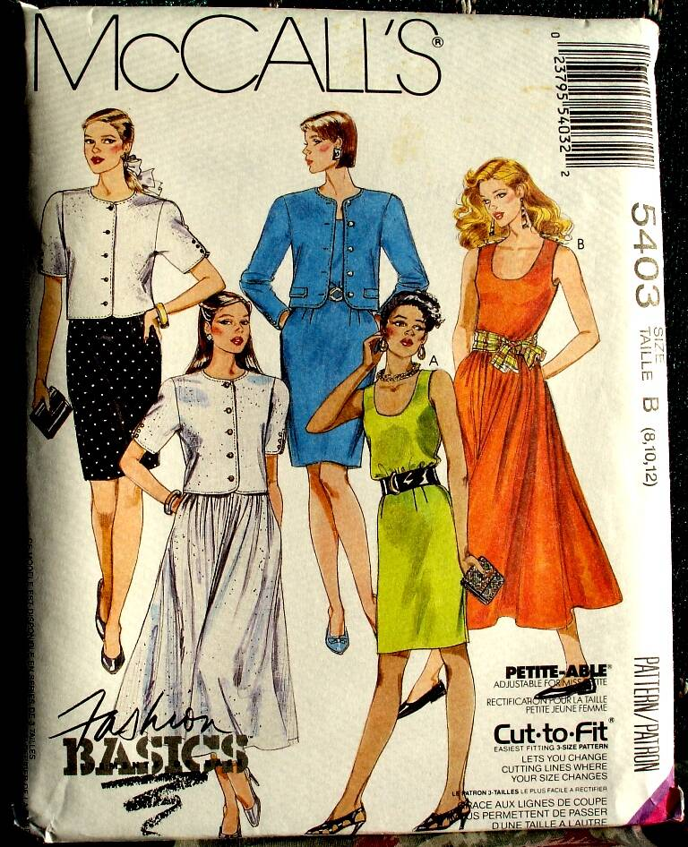 McCall's 5403 Misses Unlined Jacket And Dresses Pattern Size B (8-10-12)