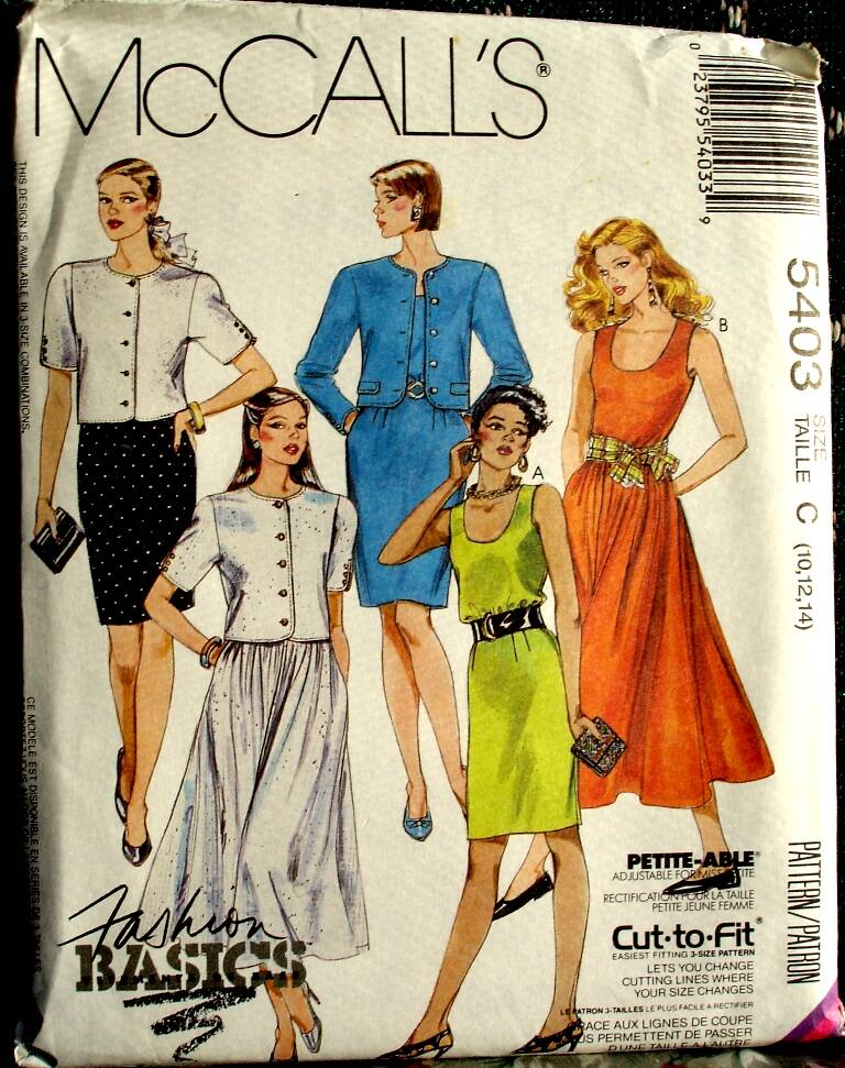 McCall's 5403 Misses Unlined Jacket And Dresses Pattern Size C (10-12-14)
