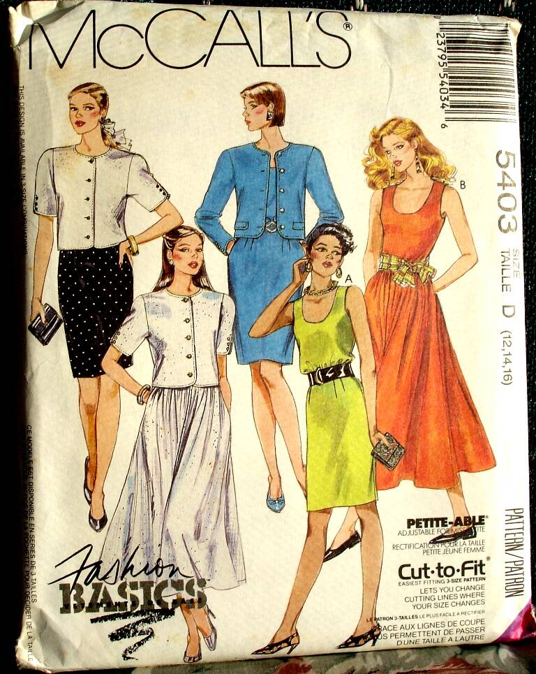 McCall's 5403 Misses Unlined Jacket And Dresses Pattern Size D (12-14-16)