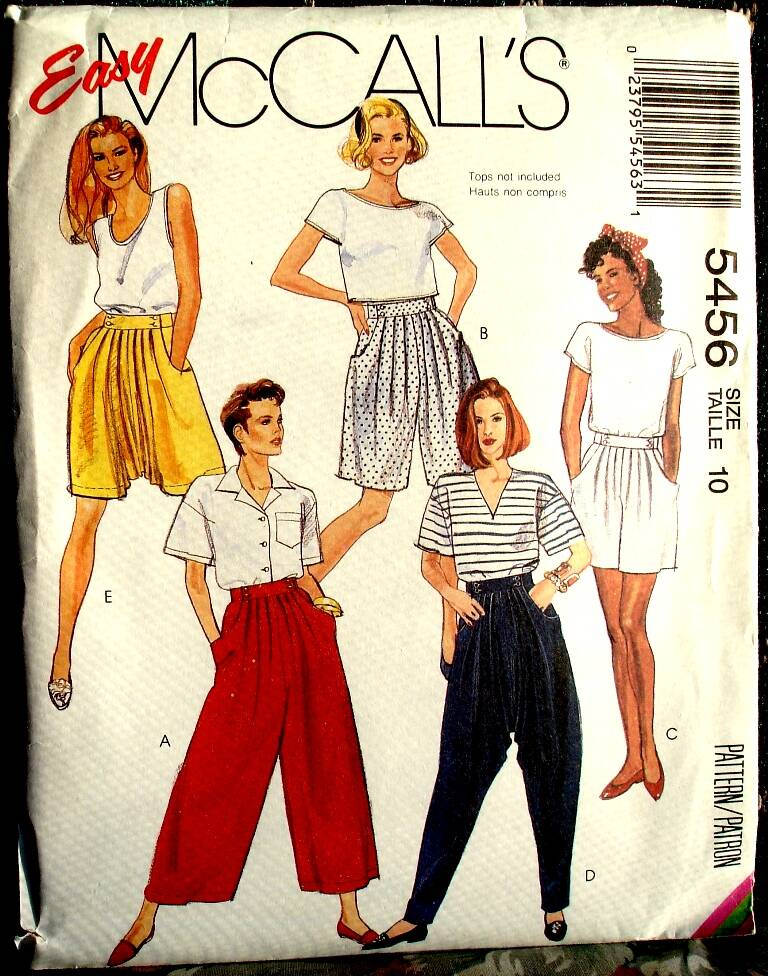 McCall's 5456 Misses Split Skirt and Pants In Two Lengths Pattern Size 10