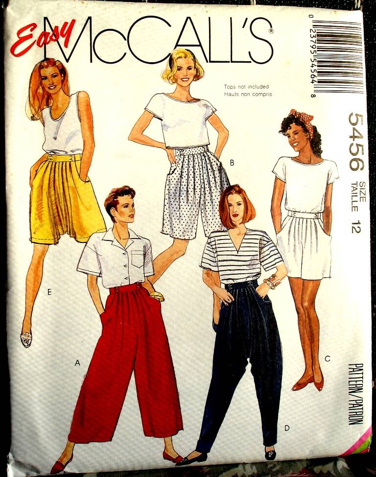 McCall's 5456 Misses Split Skirt And Pants In Two Lengths Size 12 Pattern