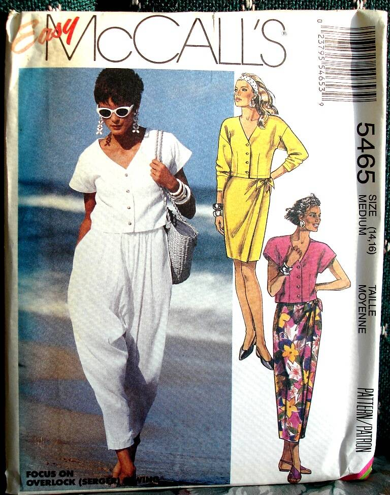 McCall's 5465 Misses Top Skirt In Two Lengths And Pants Size Medium (14-16)