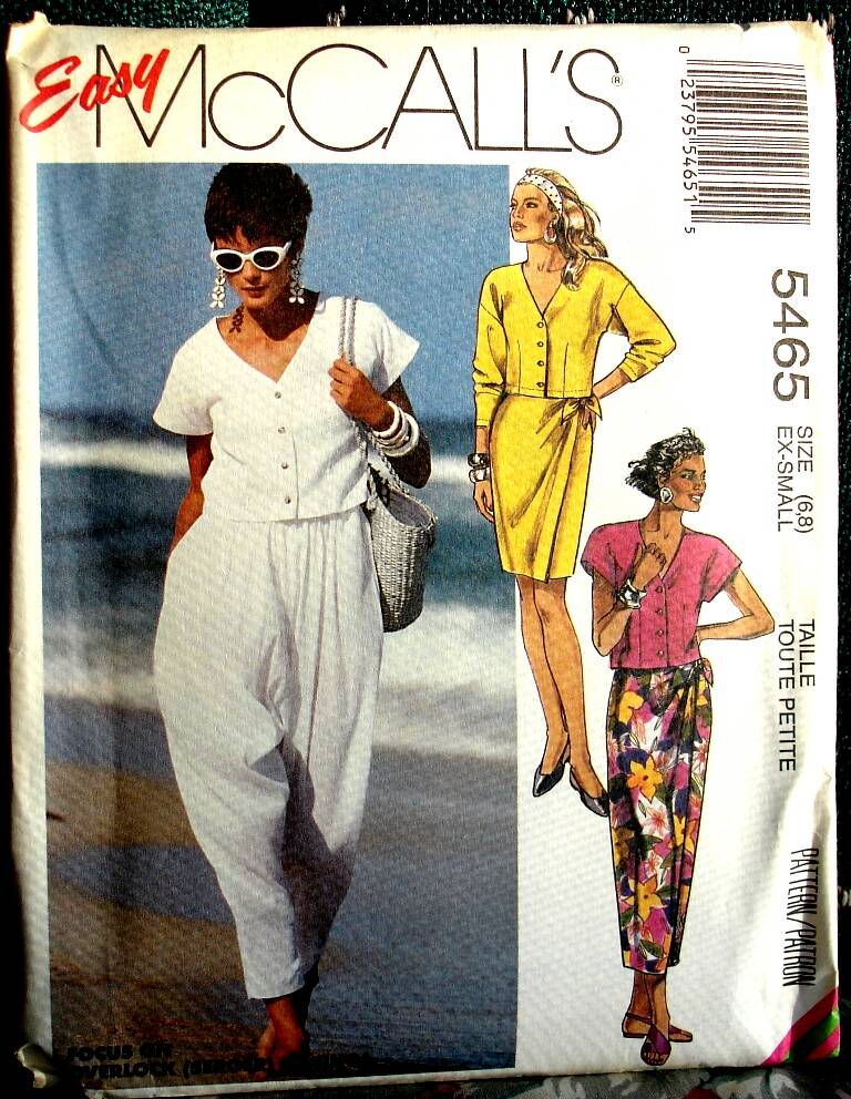 McCall's 5465 Misses Top Skirt In Two Lengths And Pants Size  X Small (6-8)